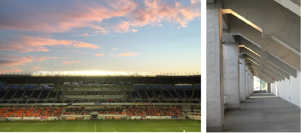 南長野運動公園総合競技場のサンセットと通路の間接照明。 右側写真の通路用間接照明用の器具はどこにあるでしょう?